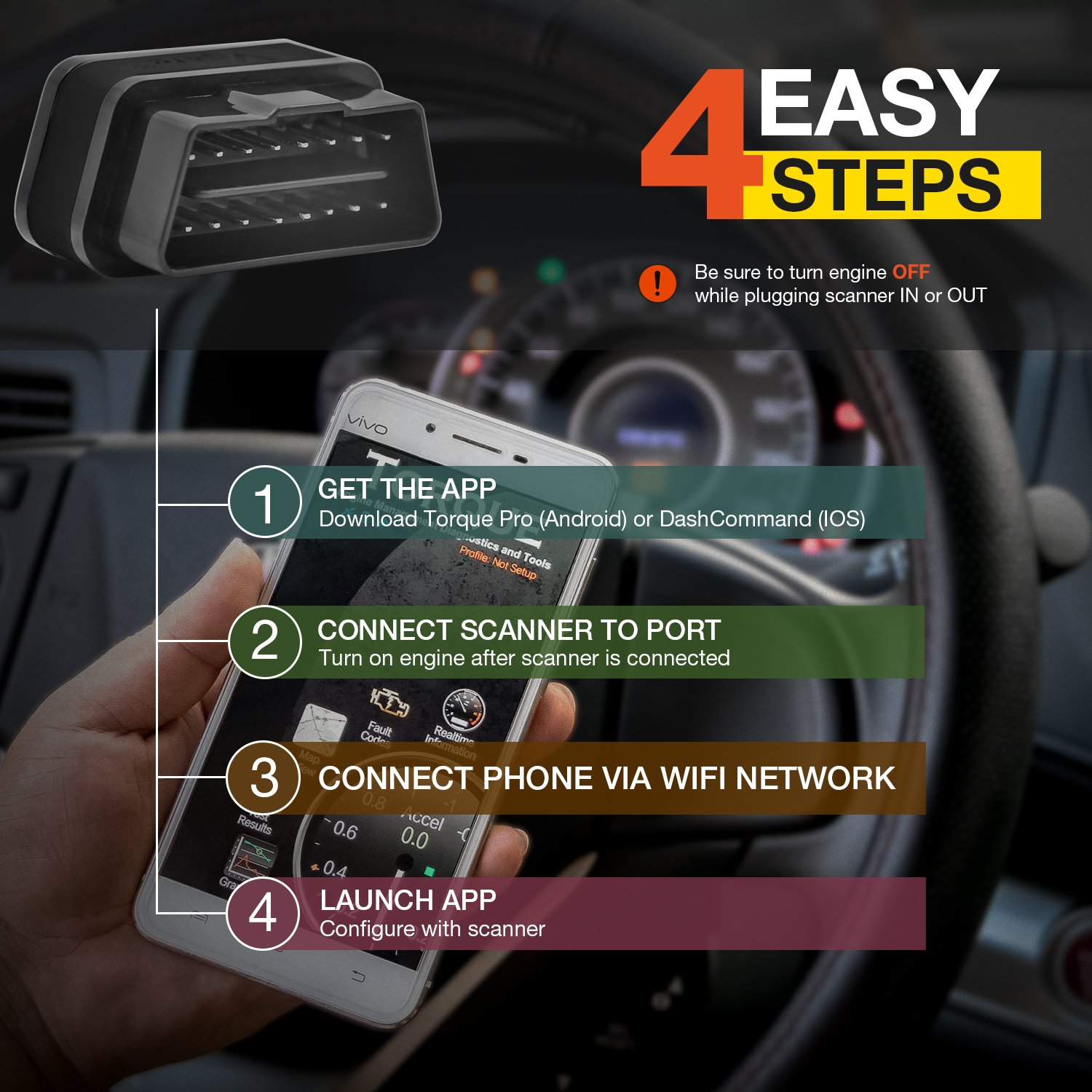 Vgate Wifi iCar2 Auto Sleep OBDII Elm327 Supports all OBDII protocols Code Re...