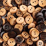 """Crystallove Mixed Color 15mm Buttons Lot for Sewing Fasteners Scrapbooking and DIY Craft (0.6"""", 100pcs)"""