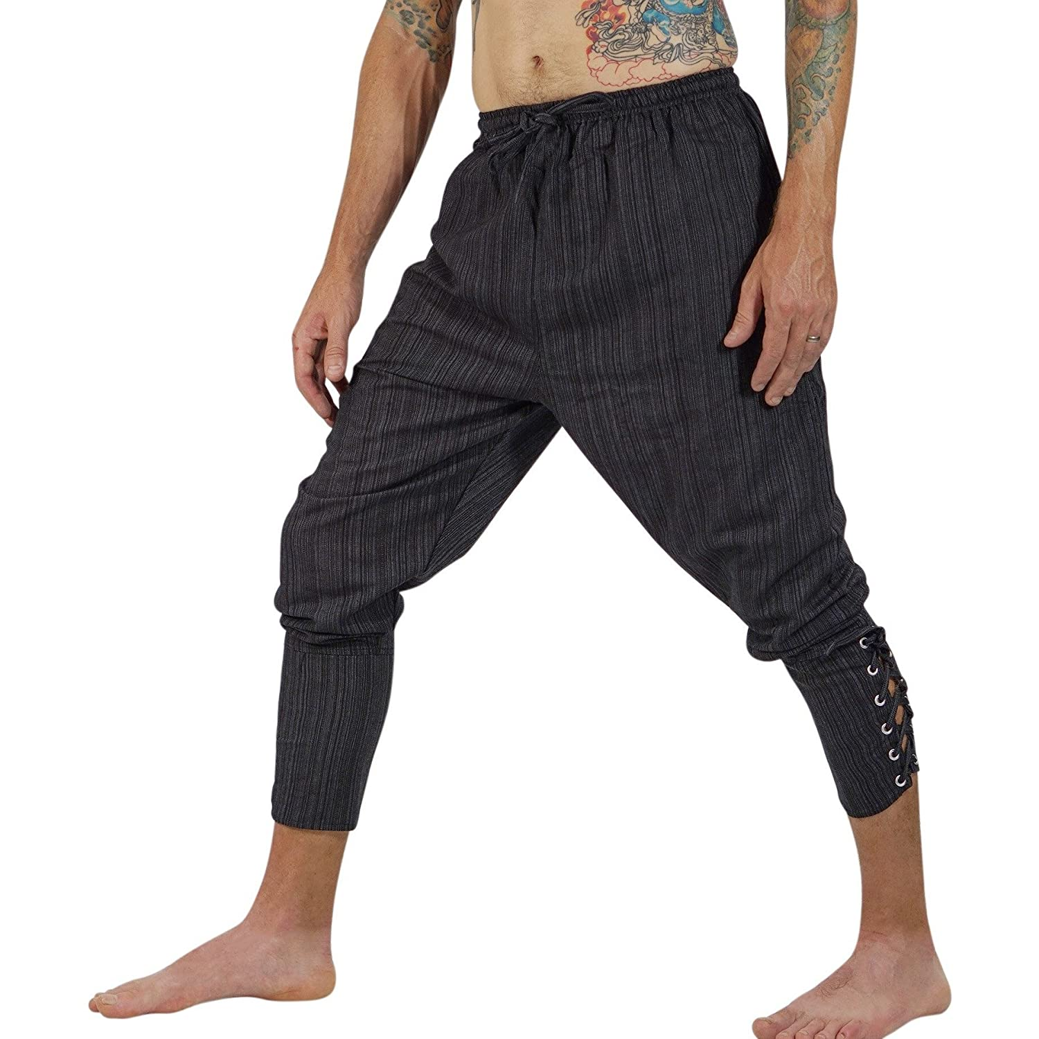 zootzu Ankle Cuff Medieval Pants - Striped Black