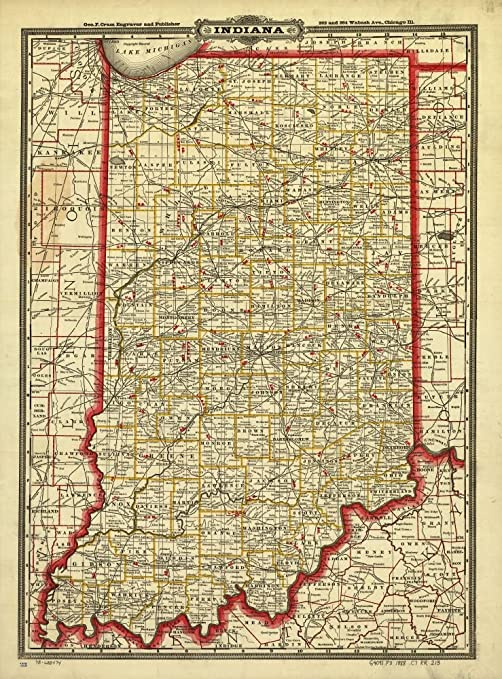 Vintage 1888 Map of Cram\'s township and rail road map of Indiana. Indexed  township and county map showing relief by hachures, drainage and cities and  ...