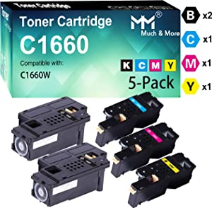 (5-Pack, 2X BK+C+M+Y) Compatible C1660 C1660W Toner Cartridge Used for Dell C1660 C1660W C1660cnw 1660 1660w 1660cnw Printer, by MuchMore