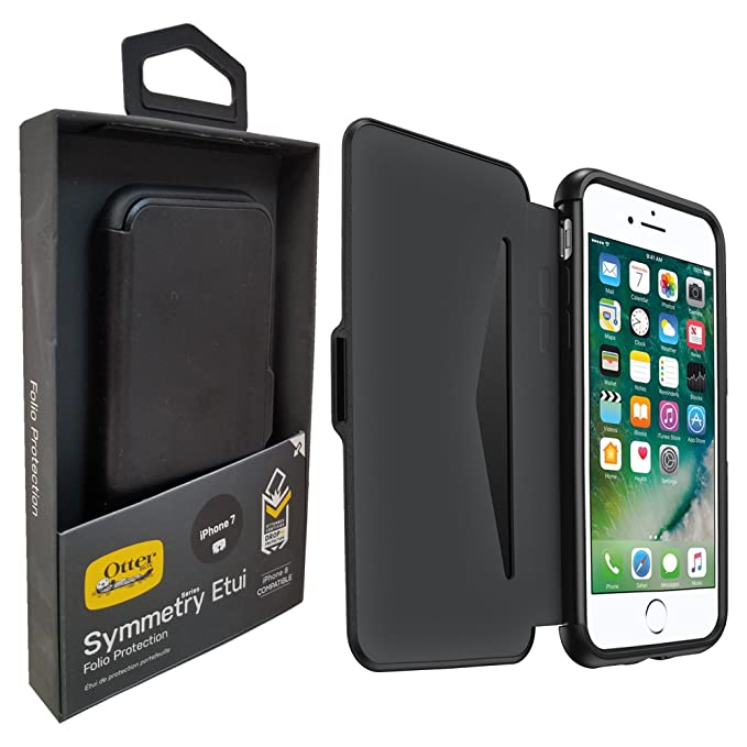 quality design 9e8bd a2961 OtterBox Symmetry Folio Etui SERIES Case - Black - W/Card Slot-iD &  Universal Stylus Pen - for iPhone 8 & iPhone 7 (4.7inch) Not for + Plus  (Retail ...