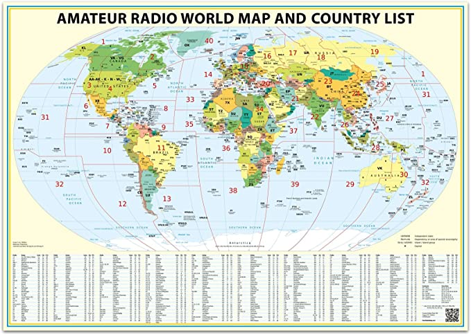 Amazon.com : 24x36 Ham Radio World Map 2020 Edition, with The DXCC Country List. : Office Products