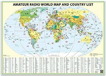 Amazoncom X Ham Radio World Map Edition With The DXCC - 24x36 world map