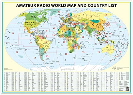 Amazon 24x36 ham radio world map 2018 edition with the dxcc 24x36 ham radio world map 2018 edition with the dxcc country list gumiabroncs Image collections