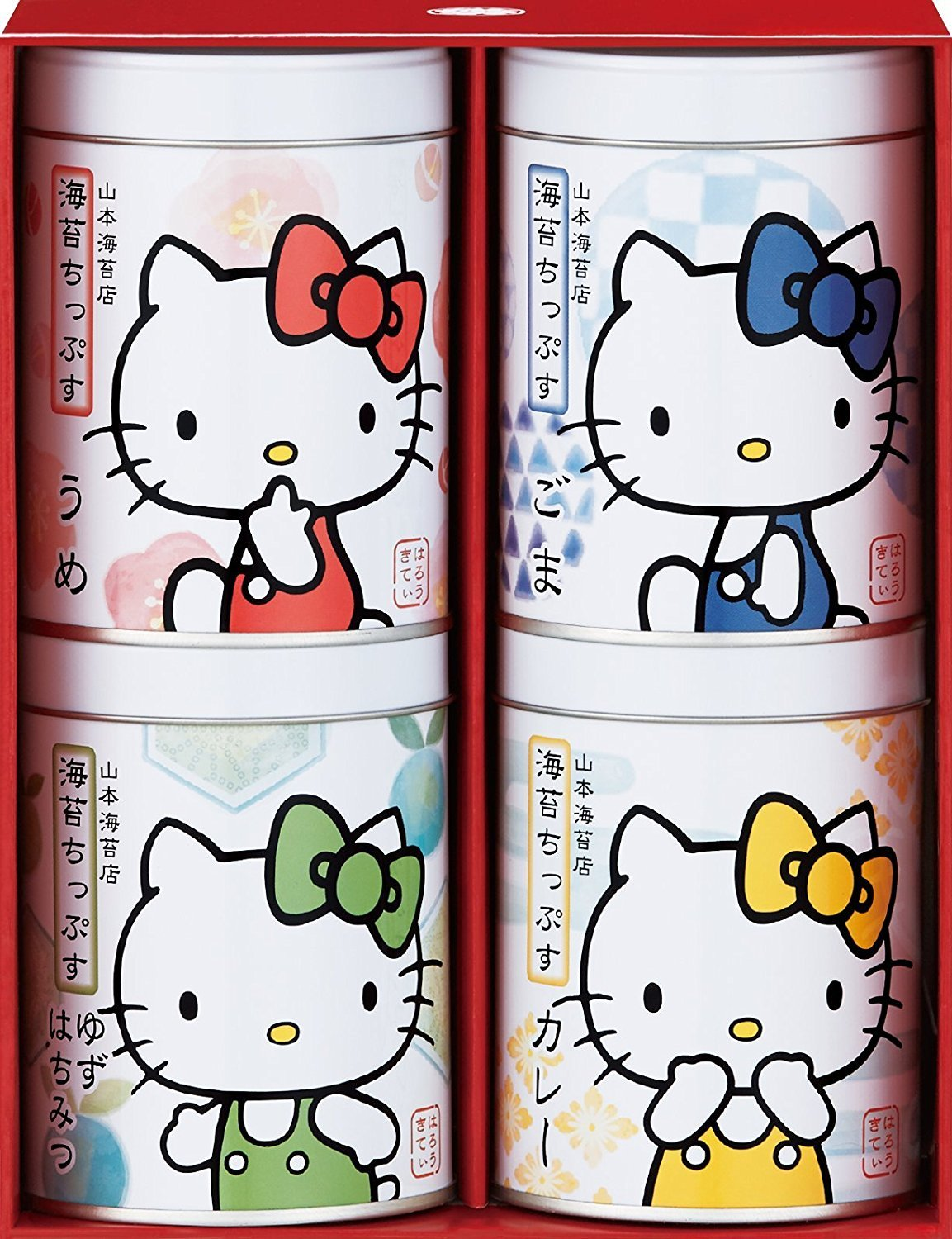 Yamamoto-Noriten x Hello Kitty Seaweed Chips Flavored Seaweed Assorted 4 flavors(Plum, Sesami, Yuzu Honey, Curry) Made in Japan [Japan Import]