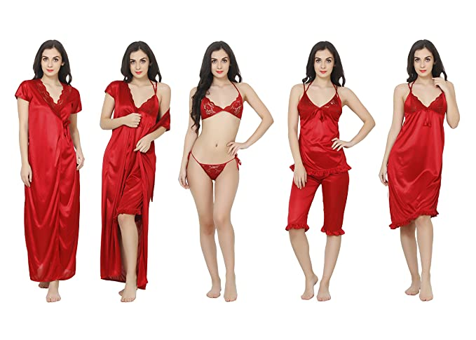 2bd0c6f5a0 Image Unavailable. Image not available for. Colour  Kanika Red Satin Free  Size 6 Piece Night Dress for Women