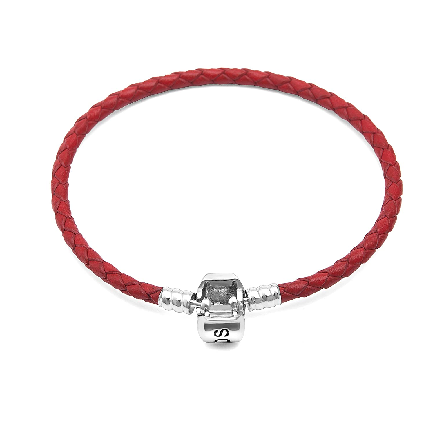 Hoobeads Genuine Red Leather Woven Bracelet with 925 Sterling Silver Barrel Snap Clasp Charms Bracelet