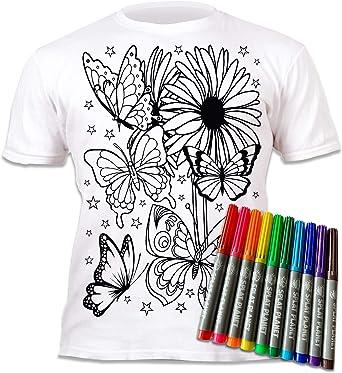 Camiseta infantil con diseño de mariposas, para pintar y ...