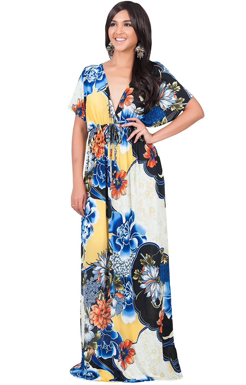 KOH KOH Womens Kimono Short Sleeve V-Neck Summer Floral Flowy Gown Maxi  Dress at Amazon Women s Clothing store  88cb494a3