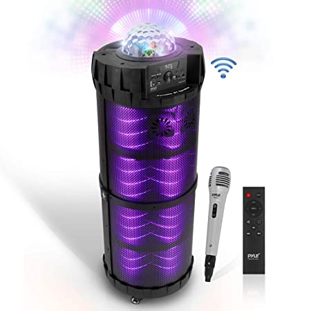 Outdoor Wireless Boombox Stereo System – 800W Portable Bluetooth Compatible Rechargeable Speaker w FM Radio USB MP3 Player Aux, 1 4 in, LED Lights – Microphone, Remote Audio Cable – Pyle PBMSPG290