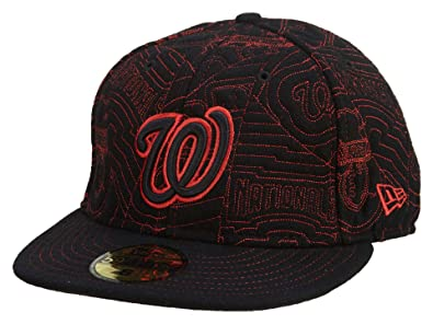New Era Washington Nationals Fitted Hat Mens Style  HAT553-RED BLACK Size  d3133d470b2