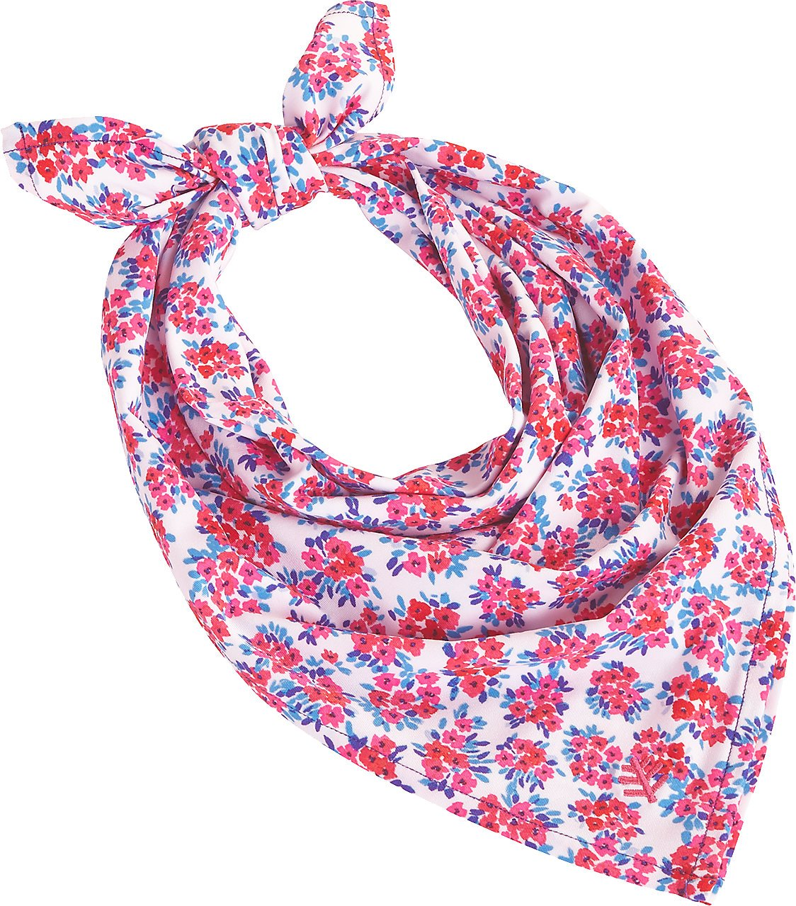Coolibar UPF 50+ Girl's Aqua Bandana - Sun Protective (One Size- Pink/White Watercolor Floral)