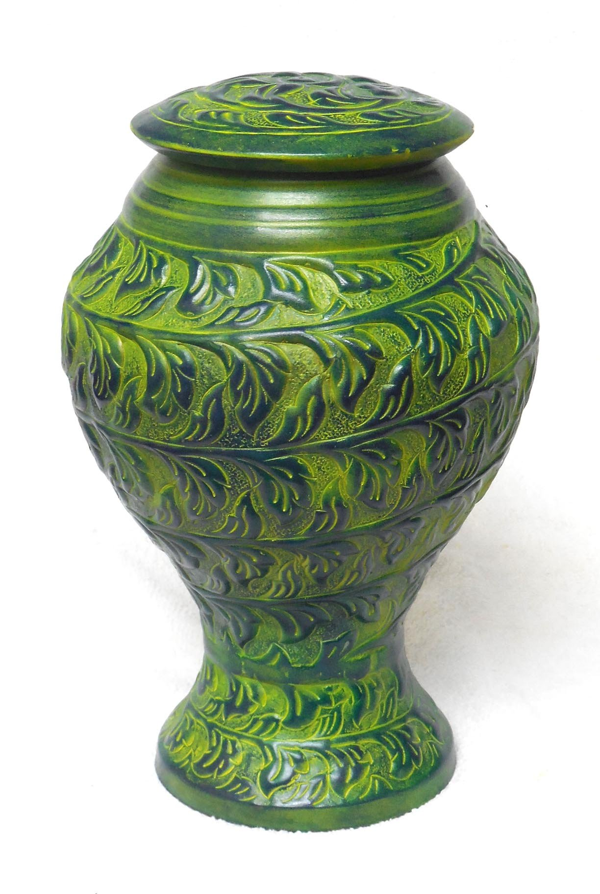 Green Funeral Urn by Liliane Memorials - Cremation Urn for Human Ashes - Hand Made in metal - Suitable for Cemetery Burial or Niche - Large Size fits remains of Adults up to 200 lbs - Vertiz Model