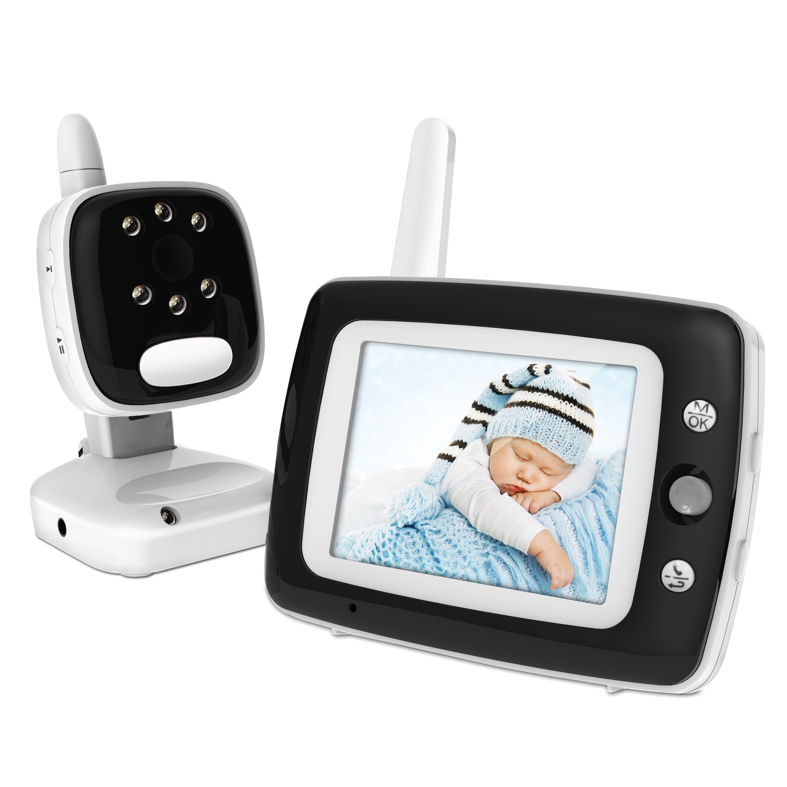 BESTHING Digital Baby Monitor with Camera - 3.5 Inch Color Screen, Long Range Wireless Monitoring, Night Vision, Soothing Lullabies, Two Way Audio, Temperature Display-Black by BESTHING