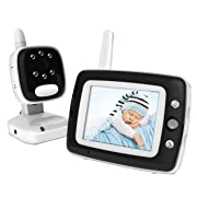 Digital Video Baby Monitor with 3.5 Inch Color Screen, Infrared Night Vision, Soothing Lullabies, Two Way Audio and Temperature Monitoring