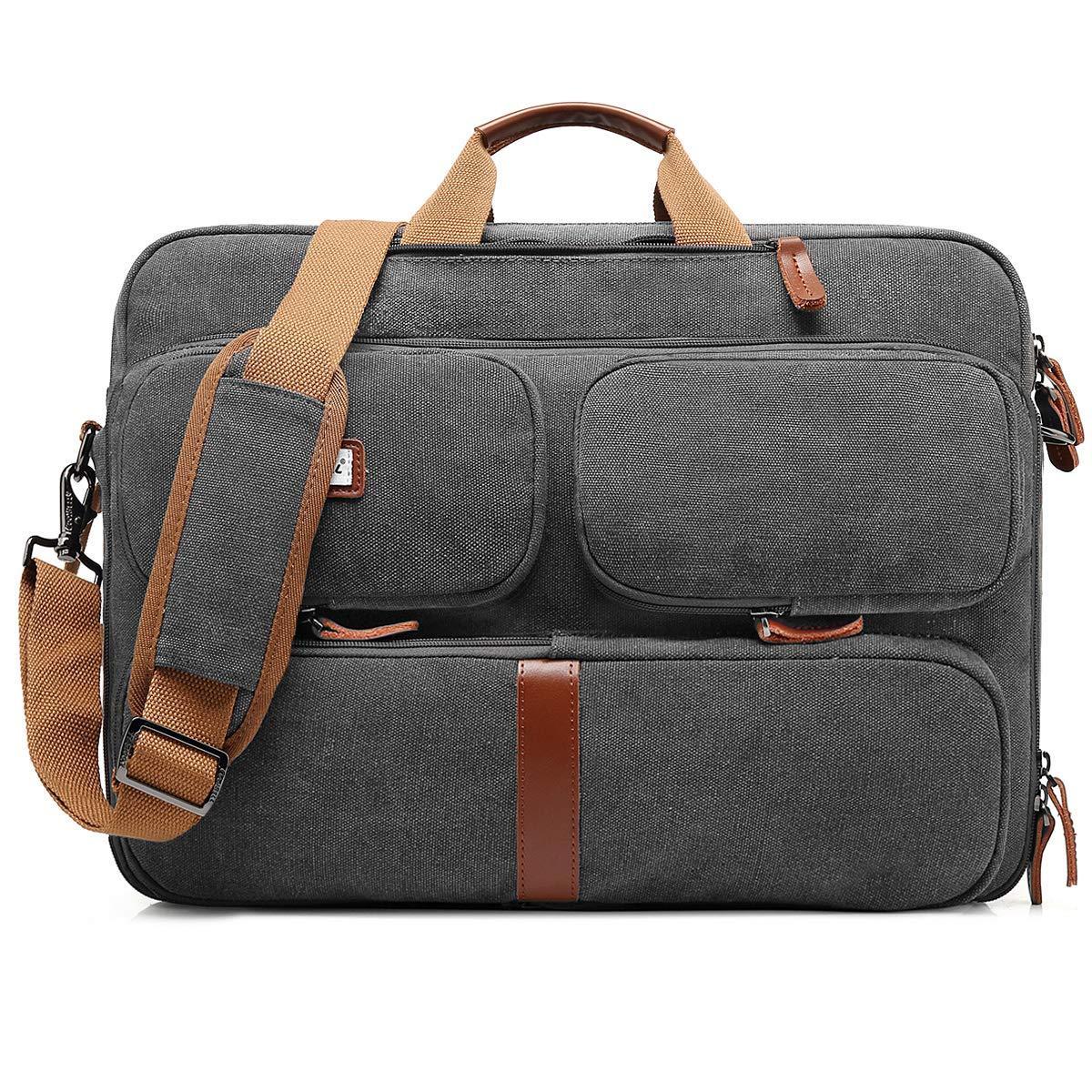 CoolBELL Convertible Laptop Bag Backpack Messenger Bag Shoulder Bag Business Briefcase Multi-Functional Travel Rucksack 17.3 Inches Laptop Case for Men/Women (Canvas Dark Grey)