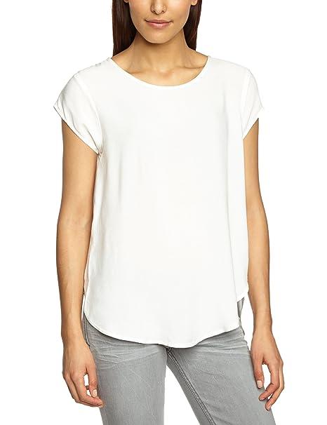 Vero Moda 10104030, Camiseta Para Mujer, Blanco (Snow White), 34 (