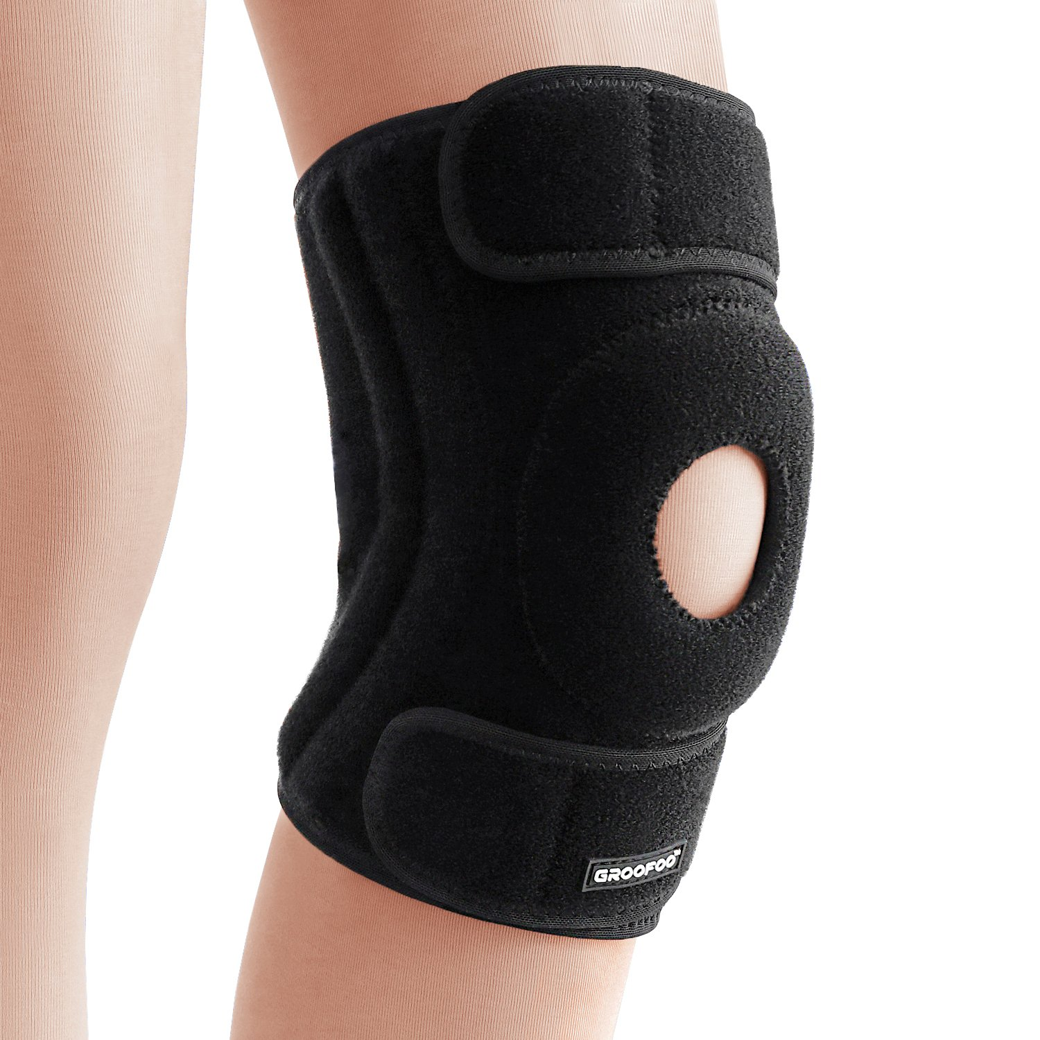 Adjustable knee brace support - GROOFOO Non-slip & Human mechanics Knee Brace Sleeve Wraps for Outdoor Activities, Tear, Bursitis, Arthritis, Joint Pain Relief, Injury Recovery - GF033