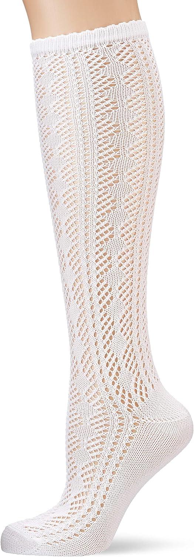 Lusana Damen Damenkniestrumpf mit Ajourmuster Trachtenstr/ümpfe