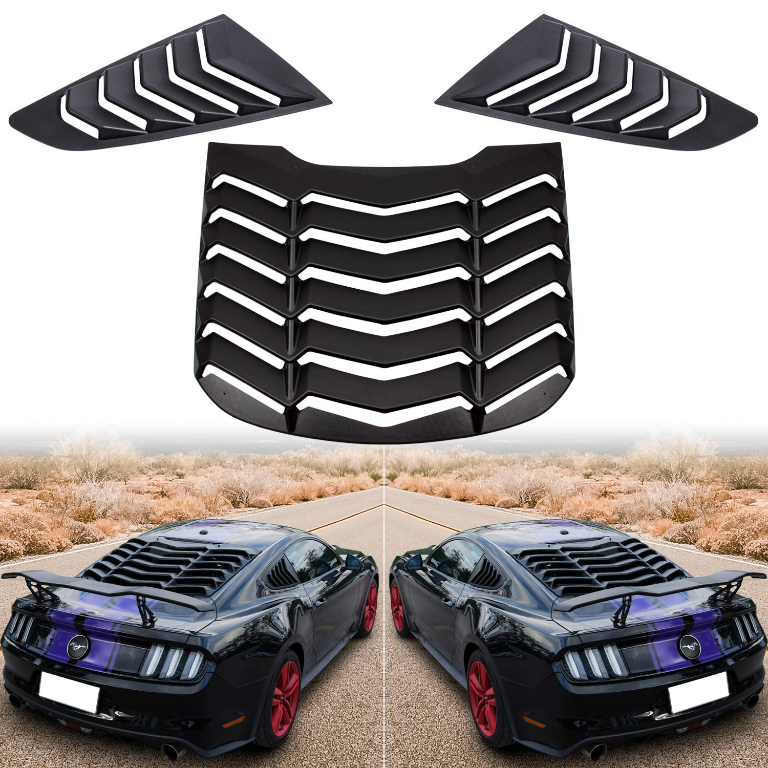 Exterior Accessories Rear and Side Window Louvers Matte Black ABS ...