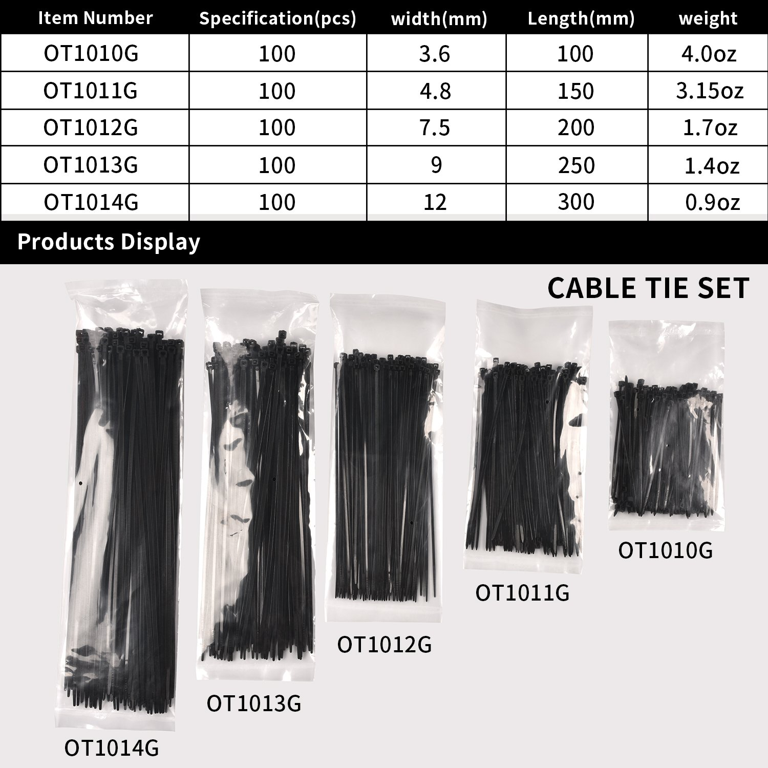 Cable Ties, HKbest Zip Ties, 500 Pcs Adjustable Durable Self locking Black Nylon Zip Cable Ties for Home Office Garage Workshop UV Resistant Heavy Duty by HKbest (Image #2)