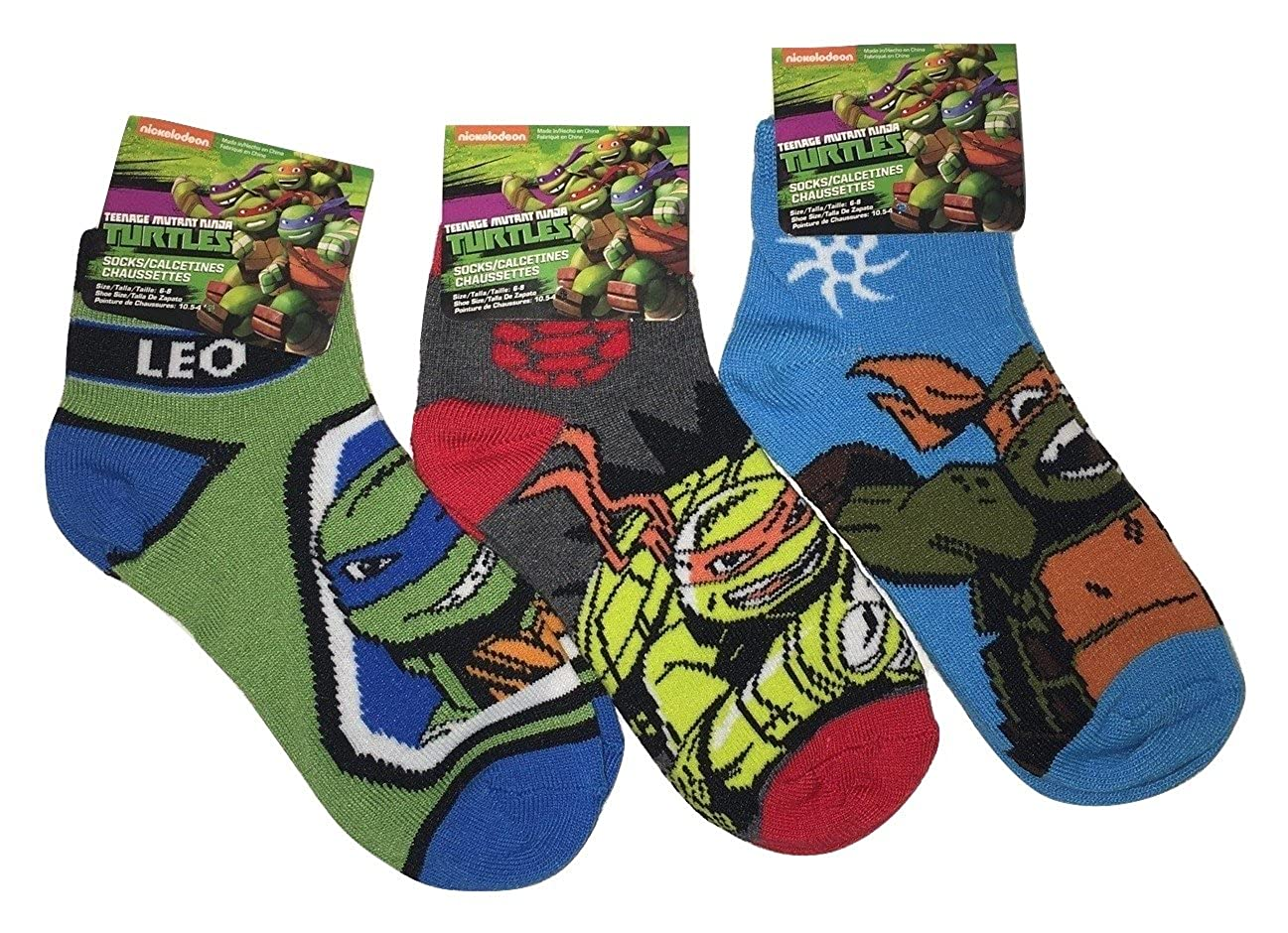 Amazon.com: Nickelodeon Teenage Mutant Ninja Turtles Youth Ankle Socks - 3 Pair, Size 6-8: Clothing