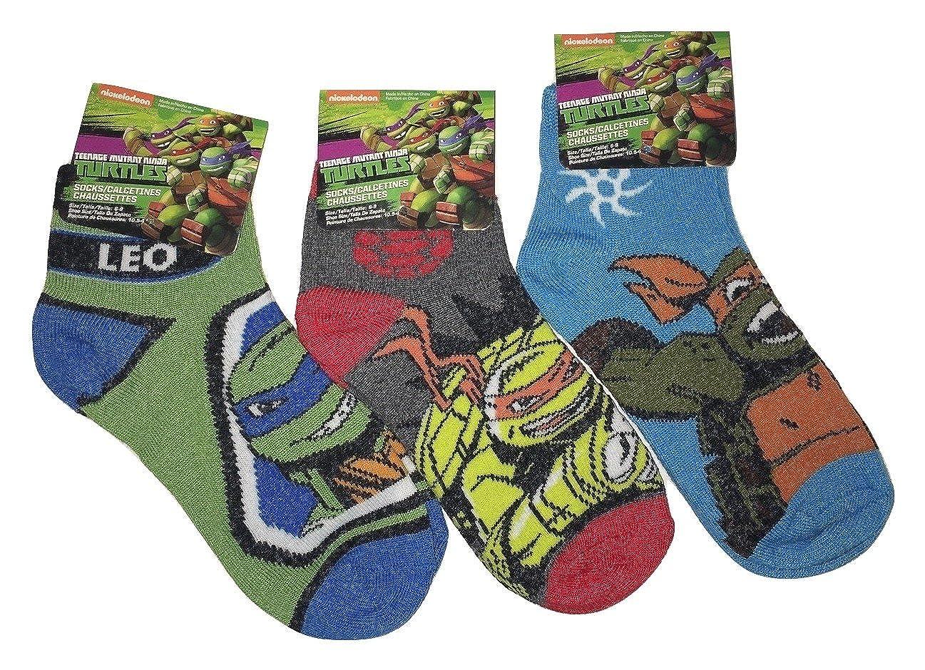 Amazon.com: Nickelodeon Teenage Mutant Ninja Turtles Youth Ankle Socks - 3 Pair, Size 6-8: Clothing