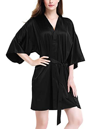 David Archy Women s Stretchy Satin Kimono Robe Bridesmaid Silk Nightwear  Short Bathrobe(S d3b75bae9