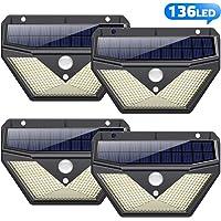 Luz Solar Exterior,【4Pack-136LED-2000mAh】Trswyop Foco Solar Exterior con Sensor de Movimiento Luces led con Gran Ángulo de Iluminación 270ºLámpara Solar Impermeable IP65 para Jardín