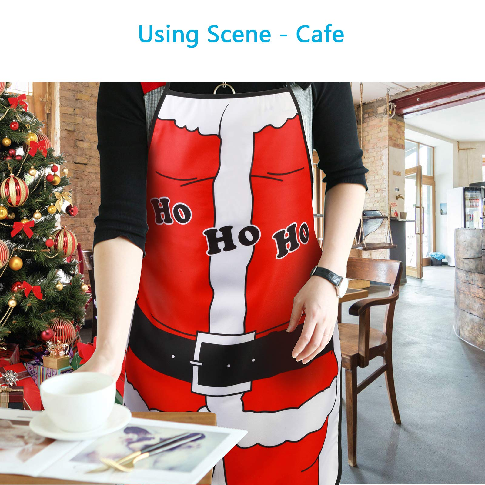 KAKOO Christmas Apron, Santa Claus Style Adult Kitchen Apron for Christmas Party Chef Cooking Restaurant House Cleaning Gardening Home (red)