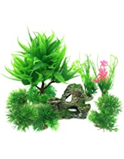 PietyPet - Decoración para pecera, 9 plantas verdes de acuario de plástico y acuario,