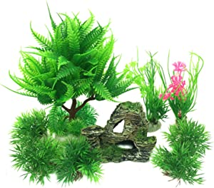 Pietypet Fish Tank Decorations Plants with Rockery View, 9pcs Green Aquarium Plants Plastic and Aquarium Mountain Boat Reef Rock Cave Resin Fish Tank Ornament Decoration