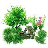 PietyPet - Decoración para pecera, 9 plantas verdes de acuario de plástico y acuario, arrecife de montaña, cueva de roca, resina, pecera, decoración para pecera
