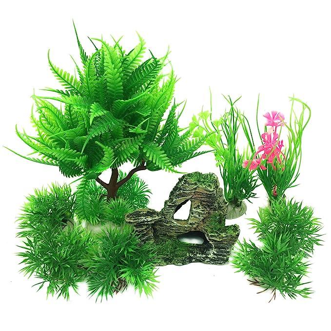 PietyPet - Decoración para pecera, 9 plantas verdes de acuario de plástico y acuario, arrecife de montaña, cueva de roca, resina, pecera, decoración para ...