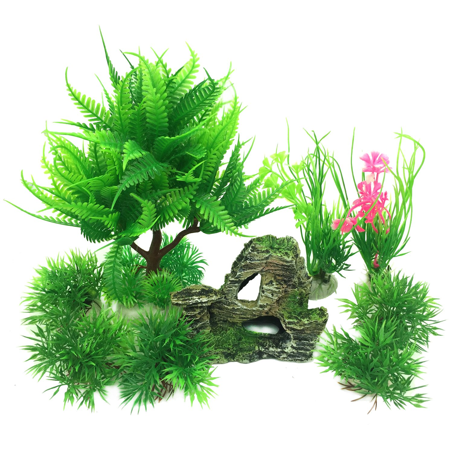 Pietypet Fish Tank Decorations Plants with Rockery view, 9pcs Green Aquarium Plants Plastic and Aquarium Mountain Reef Rock Cave Resin Fish Tank Ornament Decoration