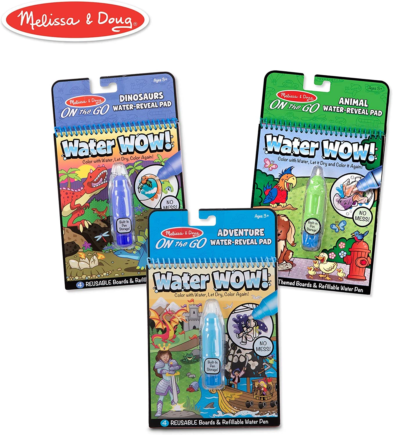 Reusable Water-Reveal Coloring Book, Refillable Water Pen Colors /& Shapes Activity Pad Melissa /& Doug On the Go Water Wow