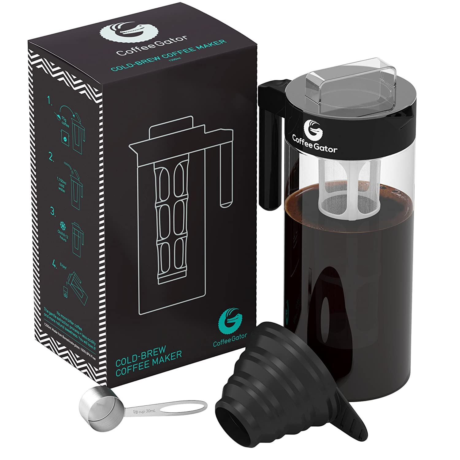 Coffee Gator Cold Brew Kit - Brewer with Scoop and Loading Funnel - 47oz, Black