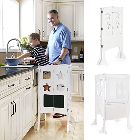 Swell Guidecraft Classic Kitchen Helper Stool White W Keeper And Non Slip Mat Foldable Adjustable Height Safety Cooking Stool For Toddlers With Spiritservingveterans Wood Chair Design Ideas Spiritservingveteransorg