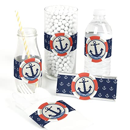 Ahoy Nautical Diy Party Supplies Baby Shower Or Birthday Party Diy Wrapper Favors Decorations Set Of 15