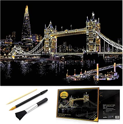 Buildings 4 Pack Scratch Painting Set with Scratch Paper Scratch Drawing Board Blank Board for Adults and Kids DIY Art Craft 16 X 11.2 Inches