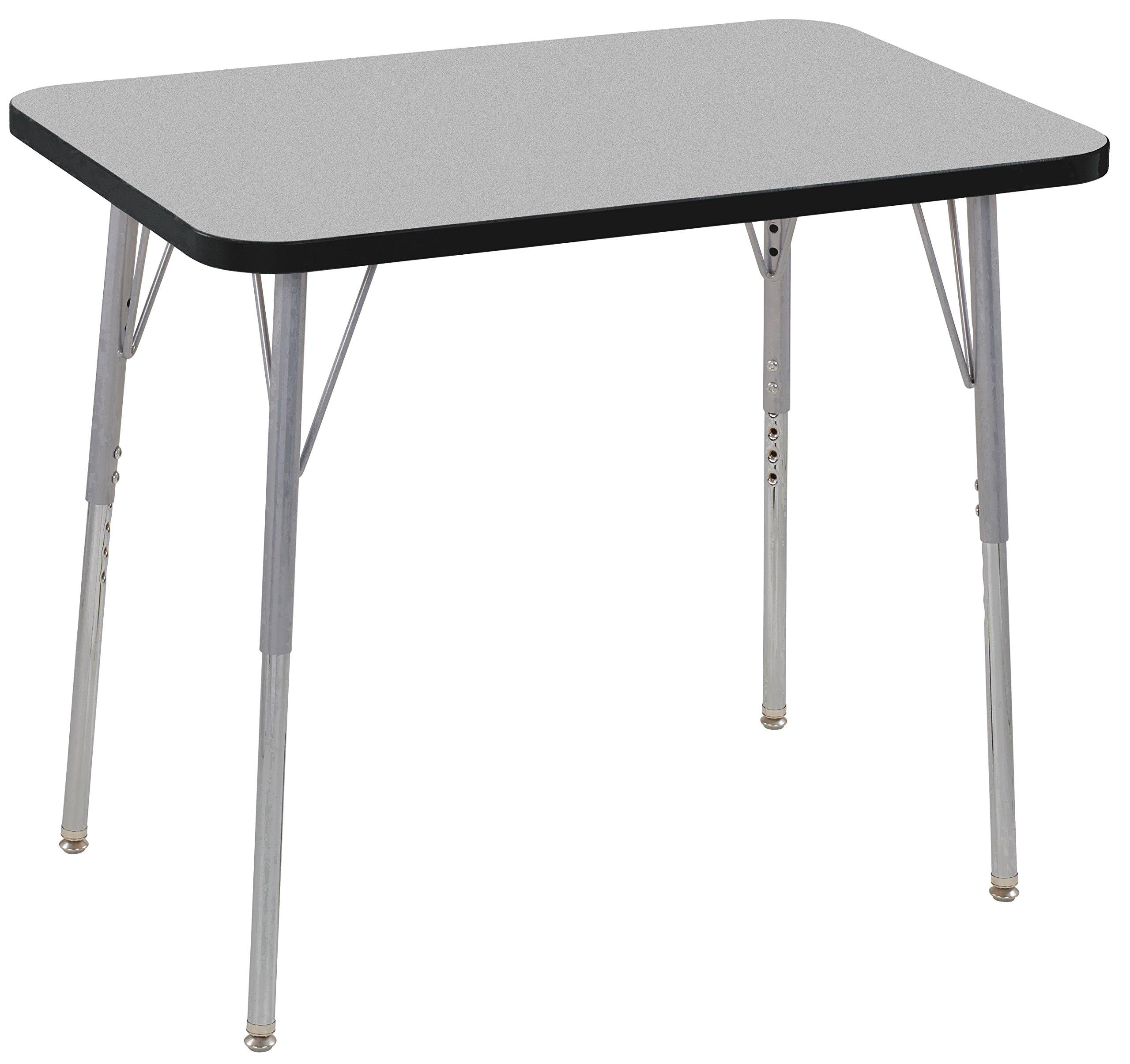 ECR4Kids Contour 24'' x 36'' Rectangle Activity School Table, Standard Legs w/ Swivel Glides, Adjustable Height 19-30 inch (Grey/Black)