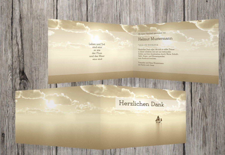 Tarjetas de agradecimiento luto Barco, marrón claro, 30 Karten