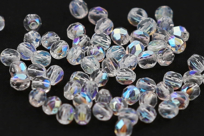 600 Schwarz Böhmische Glasschliffperlen Glasperlen Facettiert 4mm