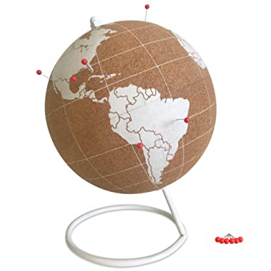 Globe Trekkers - Mini White Cork Globe with 50 Red Colored Push Pins & Durable Steel Base | Great for Mapping Travels & Educational Purposes | Does Not Have Plastic Strip Like Most
