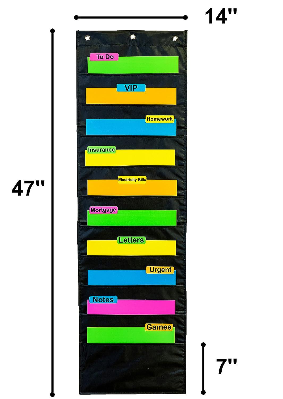 Office School Hanging Wall 10 Fabric Pocket Chart Storage