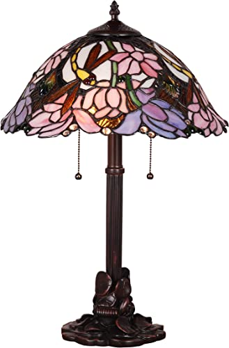 Tiffany Style Banker Table Lamp Stained Glass Accent Dragonfly Antique Blue White Pink Green Brown Flower Floral Victorian Lighting Decorative Desk Bedroom Bedside Living Room Night Light 22 x 16 inch