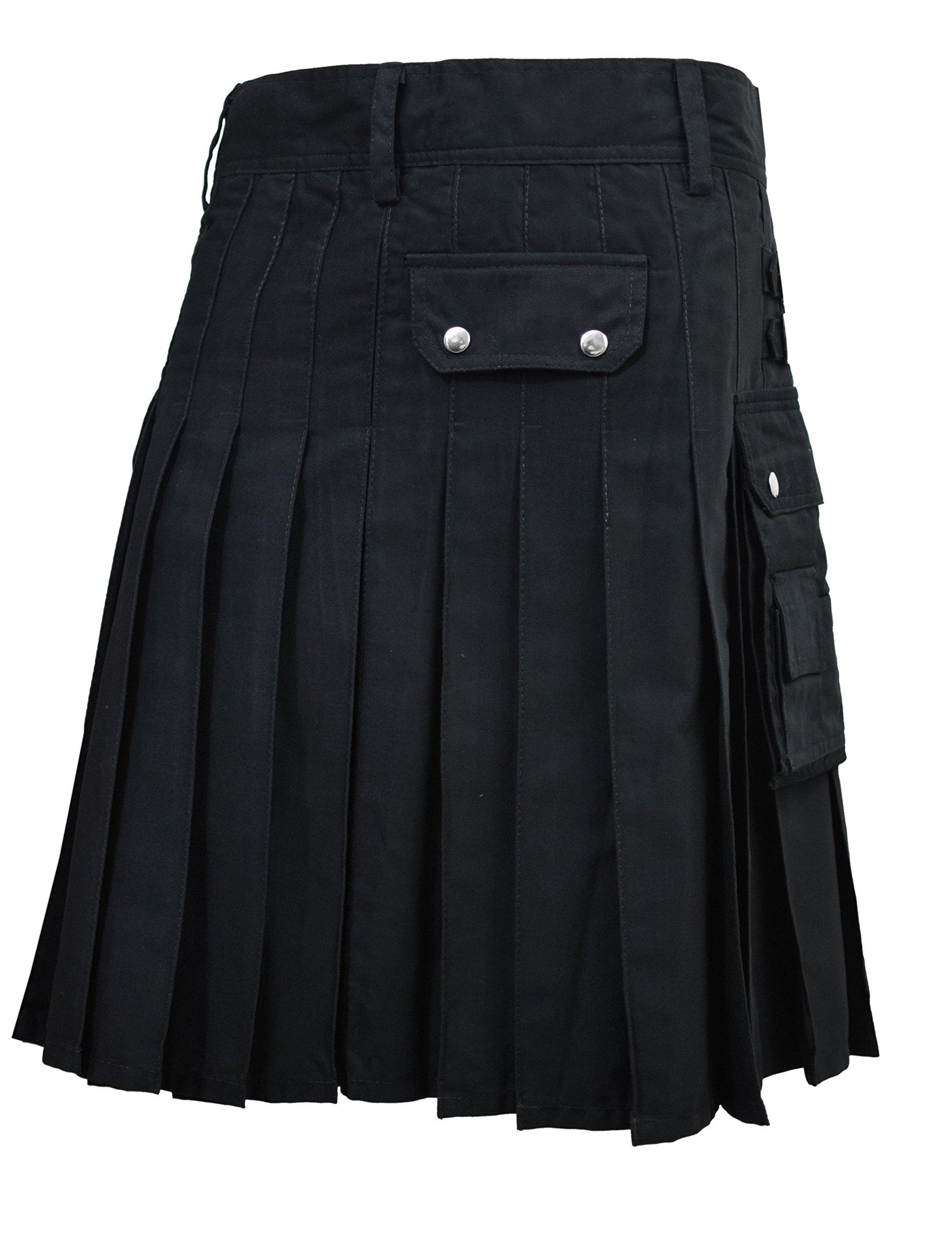 SHYNE Men's Black Fashion Sport Utility Kilt Deluxe Kilt Adjustable Sizes Pocket Kilt (38'')