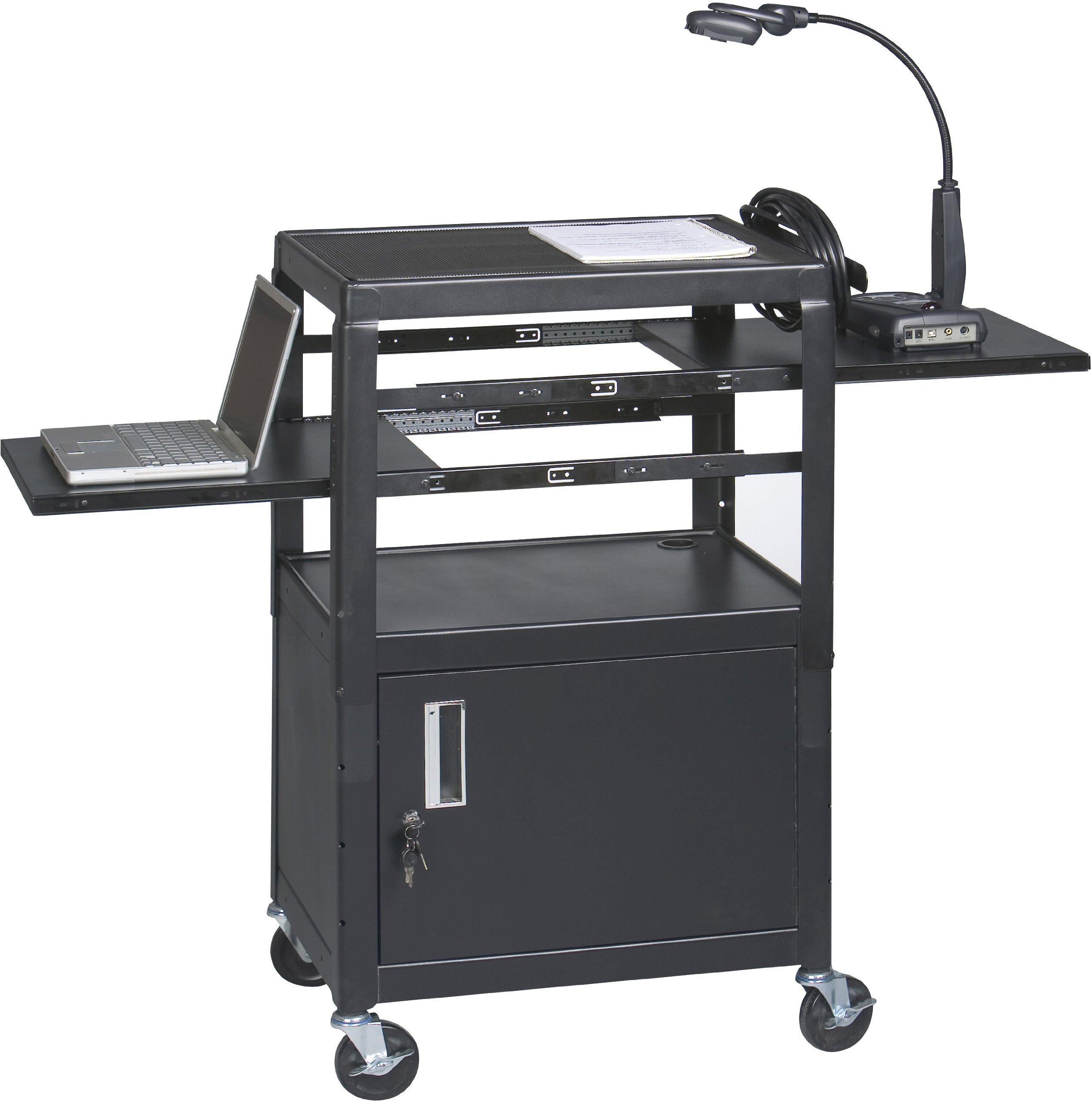 Balt Dual Adjustable Height Laptop Cart with 2 Pull-Out Shelves and a Locking Cabinet by Balt