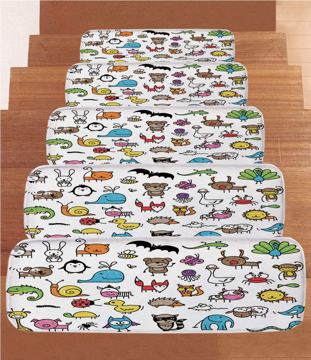 Non-Slip Carpets Stair Treads,Doodle,Collection of Cartoon Style Animals Drawn in Child Friendly Manner Cute Adorable Fun,Multicolor,(Set of 5) 8.6''x27.5'' by iPrint (Image #1)